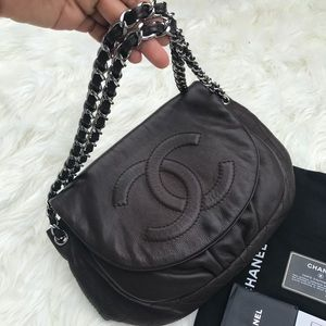 CHANEL Half Moon Shoulder Crossbody Bag Dark Brown